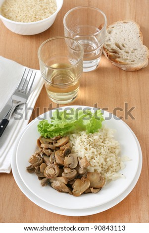 mushrooms with boiled rice