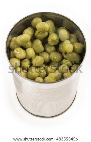 mushy pea in a aluminum can on white background
