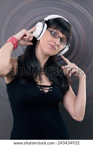 music and fun - woman listen to music with headphone