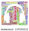 Music and sound info-colorful text graphic and arrangement concept composed in headphone shape on white background (word cloud) - stock