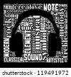 Music and sound info-text graphic and arrangement concept on black background (word cloud) - stock