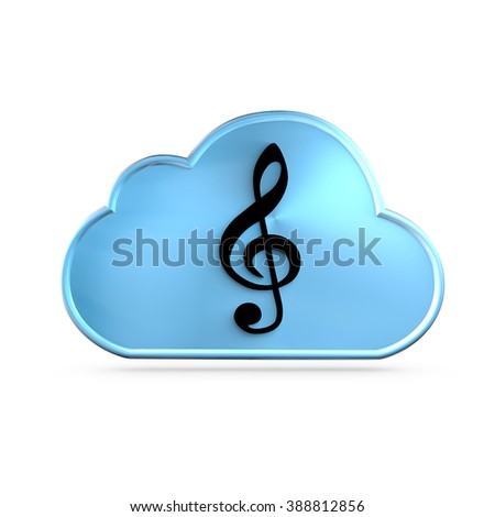 Music As A Service (MAAS) icon concept. A G clef over a cloud - stock photo