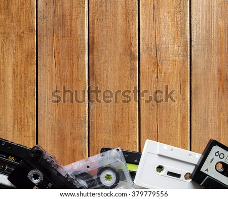 Music background, cassette tapes - stock photo