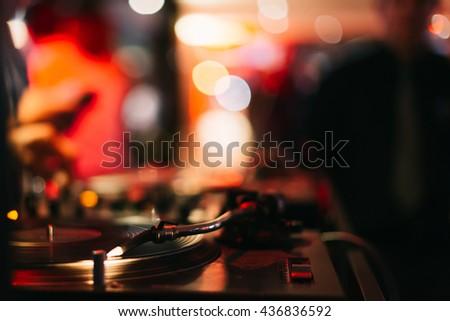 Music Background DJ Night Club Deejay Record Player Retro - stock photo