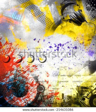 Music background grunge illustration - stock photo
