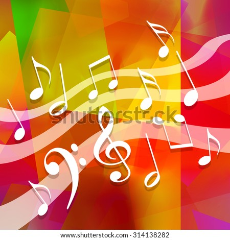 Music background with dancing musical symbols - stock photo