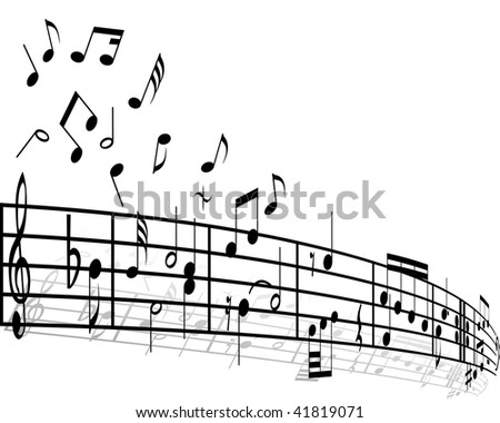 Music background with different notes on the white - stock photo
