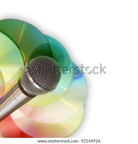 Music background with microphone and discs isolated on white - stock photo