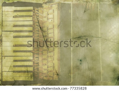 Music background with old accordion in grunge style. - stock photo