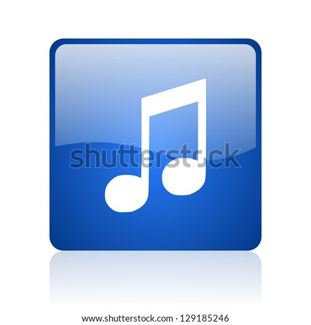 music blue square glossy web icon on white background