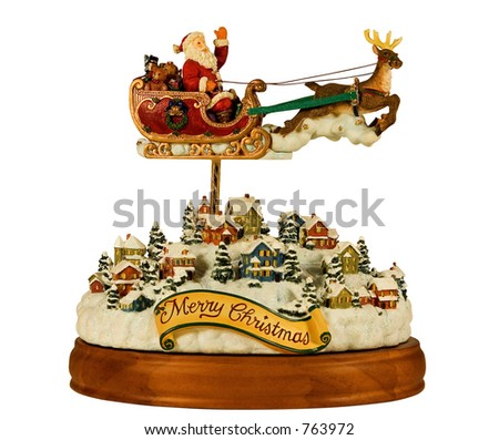 music carousel santa and his sleigh, includes clipping path - stock photo