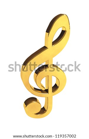 Music Concept. Golden treble clef on a white background - stock photo