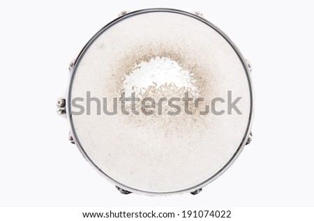 Music conceptual image. Close up of a drum snare on isolated background. - stock photo