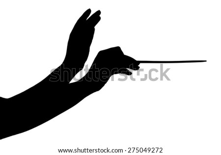 Music conductor hands with stick isolated on white - stock photo
