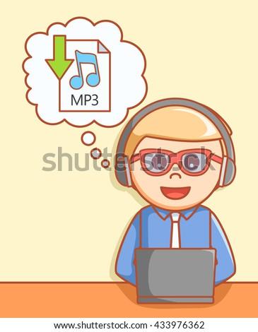 Music downloading  - stock photo