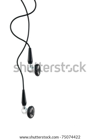Music earphones isolated against a white background - stock photo
