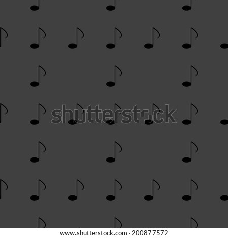 Music elements notes web icon. flat design. Seamless gray pattern.