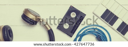 Music Equipments. Music Technology. Computer Music production Background. Music production banner. Music production tool in vintage tone. - stock photo