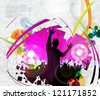 Music event. Dancing people illustration - stock vector