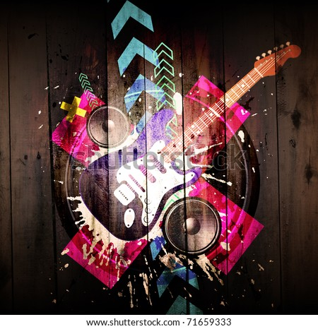 Music Event grunge background. Digital graffiti on a wooden fence - stock photo