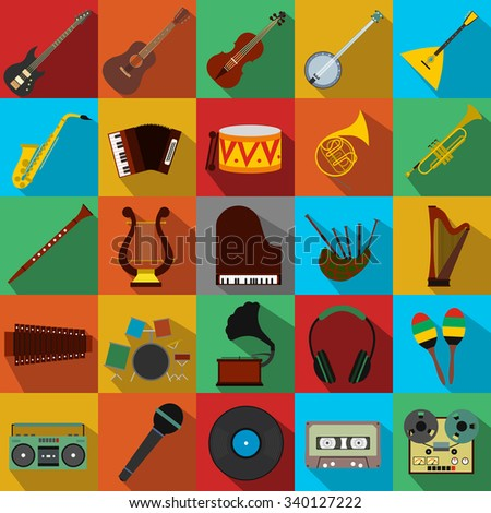 Music flat icons set for web and mobile device - stock photo