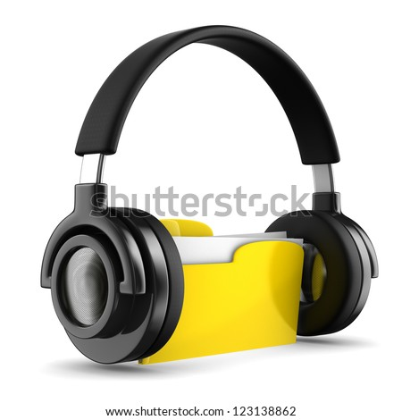 music folder on white background. Isolated 3d image