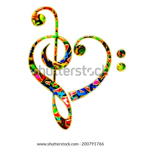 Music Heart, Bass & Treble Clef - stock photo