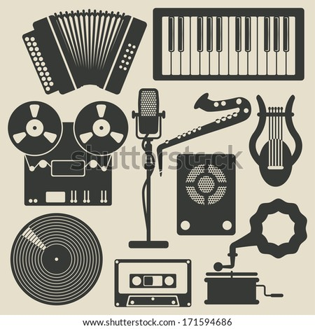 music icons - raster version - stock photo