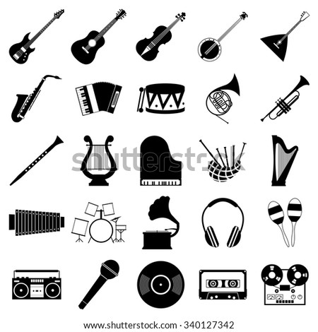 Music icons set for web and mobile device - stock photo