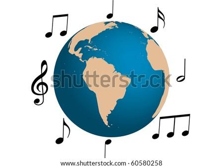 Music illustration around the world - stock photo