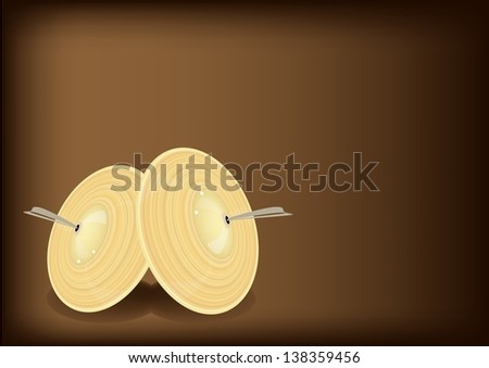 Music Instrument, An Illustration Retro Style of Cymbal or Finger Cymbals on Beautiful Vintage Dark Brown Background with Copy Space for Text Decorated   - stock photo