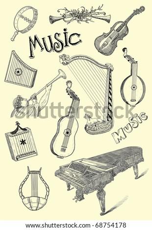 Music instruments - stock photo
