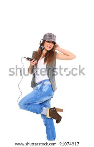 Music Listening Girl on white background - stock photo