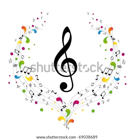 Music logo - treble clef and notes - stock photo