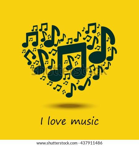 Music love. Music heart. - stock photo
