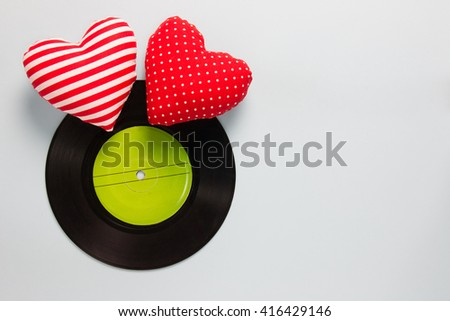 Music Lover - Vinyl with red love hearts - stock photo