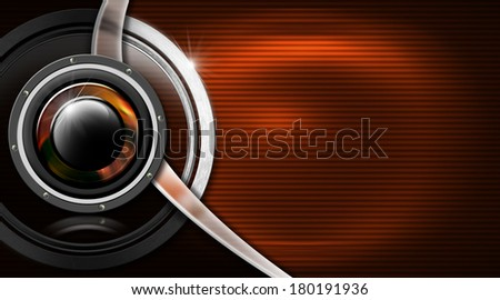 Music Metal Business Card / Orange and black corrugated background with woofer, metal circle and curve - business card music - stock photo