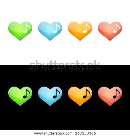 Music Note Heart Icon.  Glossy Icon Set.  Raster version.