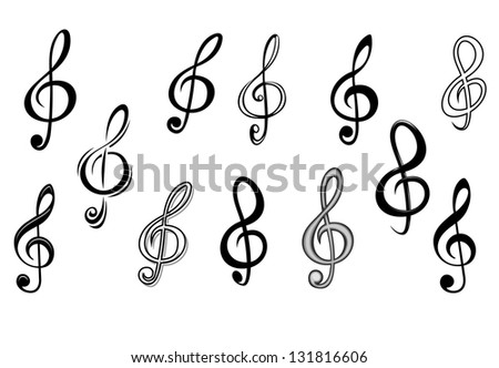 Music note keys set isolated on white for entertainment design. Vector version also available in gallery - stock photo