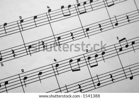 music notes 3 closeup - stock photo