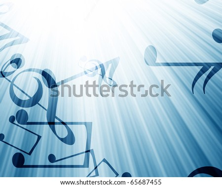 music notes in a soft blue background