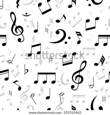 Music notes seamless pattern in black and white with scattered treble and base clefs with assorted notes in square format suitable for wallpaper