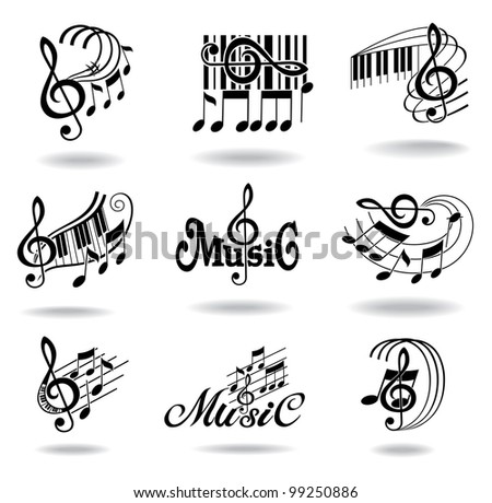 Music notes. Set of music design elements or icons. - stock photo