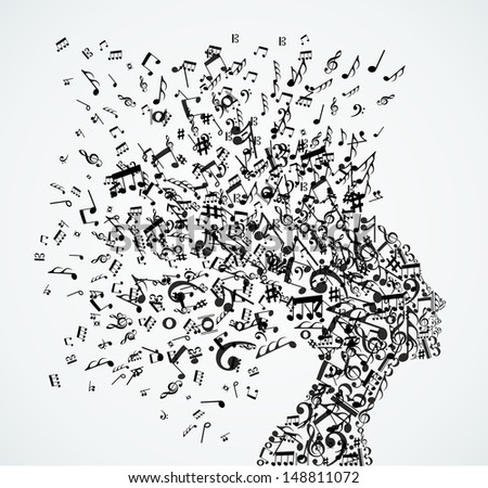 Music notes splash from woman's head illustration. - stock photo
