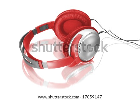 Music object. Headphones isolated on white - stock photo