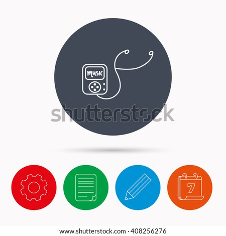 Music player icon. Songs portable device sign. Multimedia sound technology symbol. Calendar, cogwheel, document file and pencil icons. - stock photo
