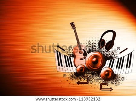 Music poster: guitar, piano, speaker and headphone abstract backround with space - stock photo