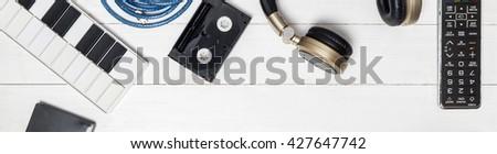 Music production tool. Music audio equipment Banner. - stock photo