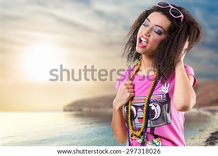 Music, Radio, Dancing. - stock photo