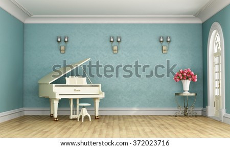 Music room in classic style with blue wall and white grand piano - 3D Rendering - stock photo